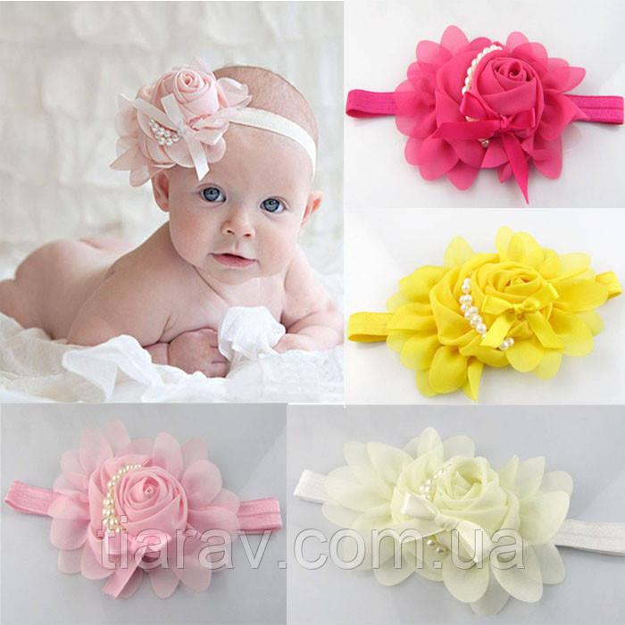 Повязка детская на голову Роза белая бантики детские для волос цветочек детские украшения