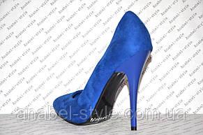 Туфли лодочки женские на шпильке замшевые цвета электрик, фото 3