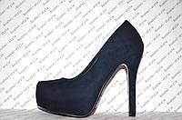 Туфли женские стильные на каблуке замшевые синего цвета