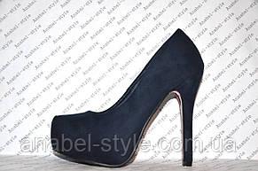Туфли женские стильные на каблуке замшевые синего цвета, фото 2