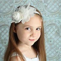 Детская повязка для волос Роза белая на резинке бант тиара для девочки