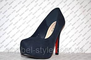 Туфли женские стильные на каблуке замшевые синего цвета, фото 3