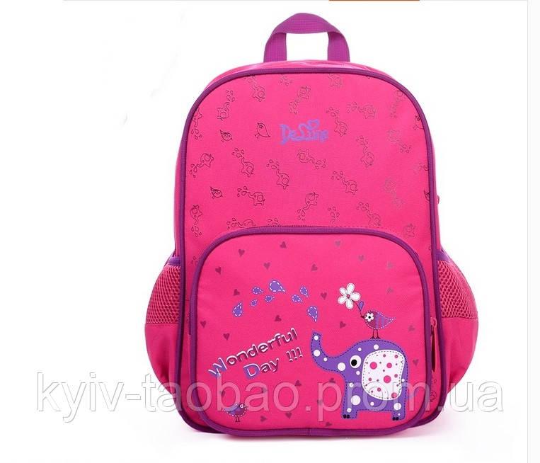 Школьный ортопедический рюкзак премиум класса DeLune розовый со слоником
