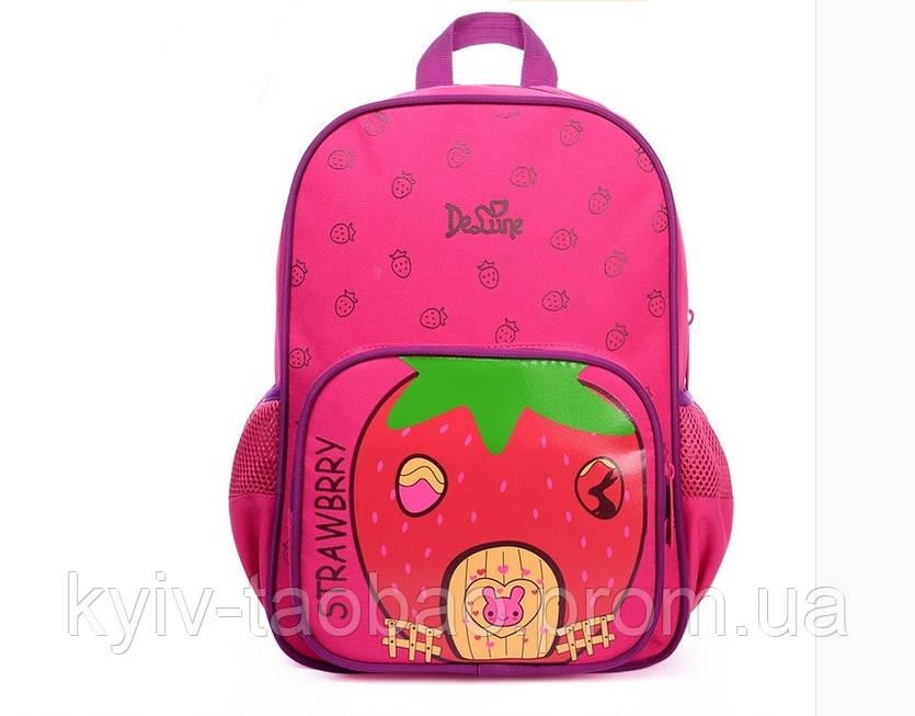 Школьный ортопедический рюкзак премиум класса DeLune розовый с клубничкой