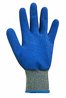 Перчатки рабочие серые с синим неполным латексным покрытием WL-1015
