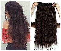 Волосы на заколках затылочная прядь волна №4А биозавивка гофре  длина 60см