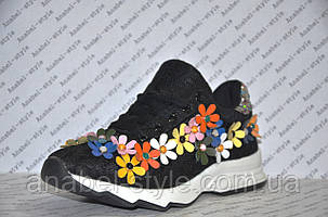 Кроссовки женские летние черного цвета украшены цветочками, фото 2