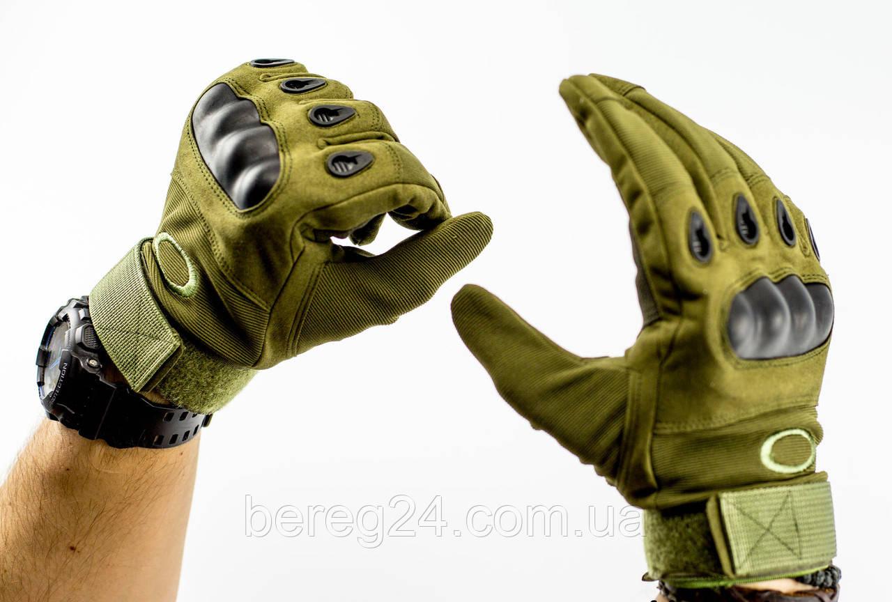 Тактические перчатки полнопалые, олива
