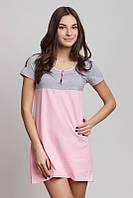 Сорочка нічна Жіноча Рожево-Сіра на гудзиках