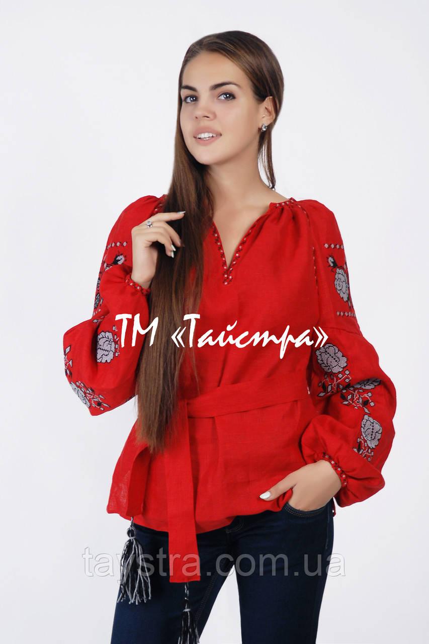 Блузка бохо вышитая красная, вышиванка,в этностиле