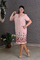 Элегантное льняное женское платье с вышивкой пудра
