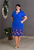 Элегантное льняное женское платье с вышивкой электрик
