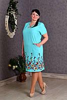 Элегантное льняное женское платье с вышивкой бирюза