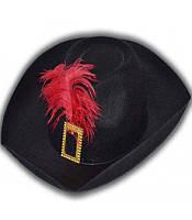 Шляпа мушкетера черная, купить оптом и розницей,MK 1408 KRK-0020
