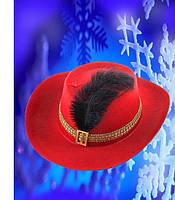 Шляпа мушкетера красная детская, купить оптом и розницей,MK 1408 KRK-0025