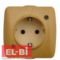 Розетка с заземлением накладная El-Bi ALSU бук 504-010700-217