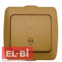 Выключатель 1-кл проходной накладной El-Bi ALSU бук 504-010700-209