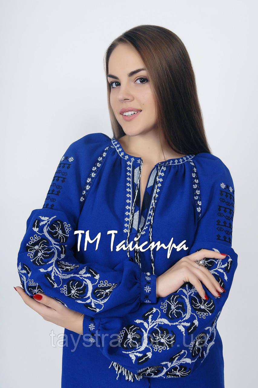 Блузка синяя бохо вышитая, вышиванка,в этностиле