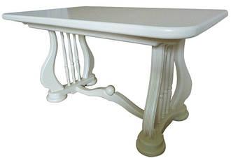 Стол обеденный Лира (Арфа) 190 см белый деревянный раскладной 140(+50)х85х75 см