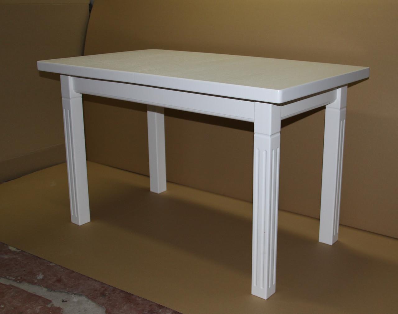 Стіл Класік плюс (Атлант) білий 120 обідній розкладний на чотирьох ногах