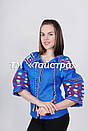 Блуза синяя бохо вышитая, вышиванка лен,в этностиле, фото 3