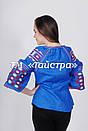 Блуза синяя бохо вышитая, вышиванка лен,в этностиле, фото 4