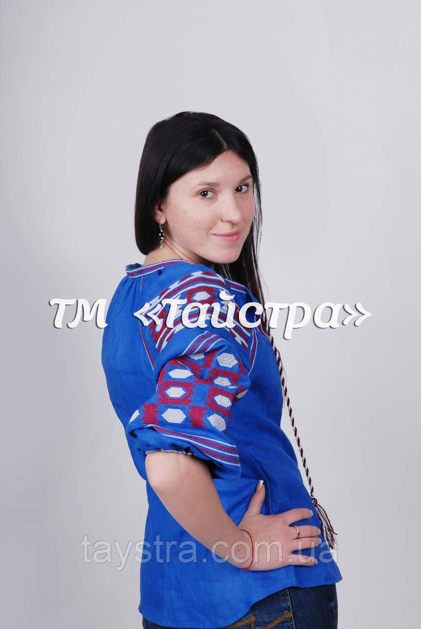 Блуза синяя бохо вышитая, вышиванка лен,в этностиле