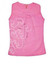 Летняя майка-борцовка для девочки (молочный, розовый цвет), рост 128 см