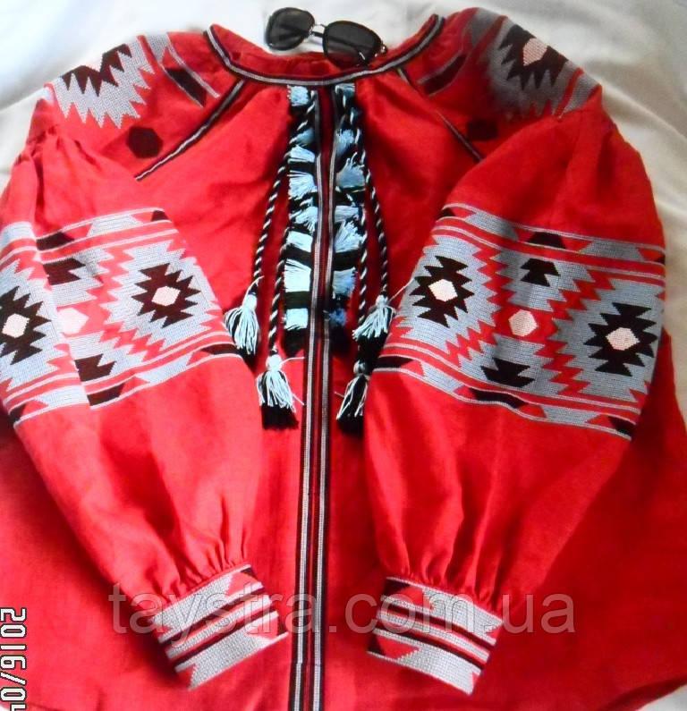 Блузка красная бохо вышитая, вышиванка лен,в этностиле