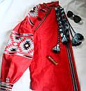 Блузка красная бохо вышитая, вышиванка лен,в этностиле, фото 2
