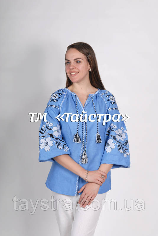 Голубая блузка бохо вышитая, вышиванка, лен, этно стиль, Bohemia