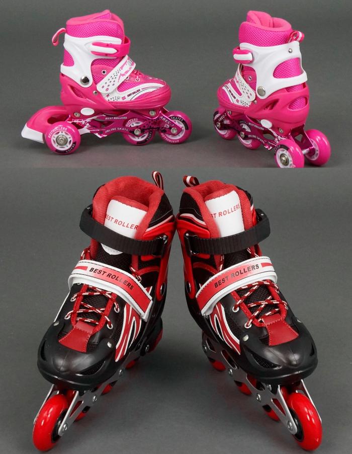 Роликовые коньки Best Rollers S 30-33 переставные колёса переднее колесо светится сумка входит в комплект - Style-Baby детский магазин в Киеве