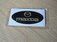Наклейка s надпись овал Mazda 45х20х1.2мм силиконовая эмблема логотип марка бренд на авто Мазда