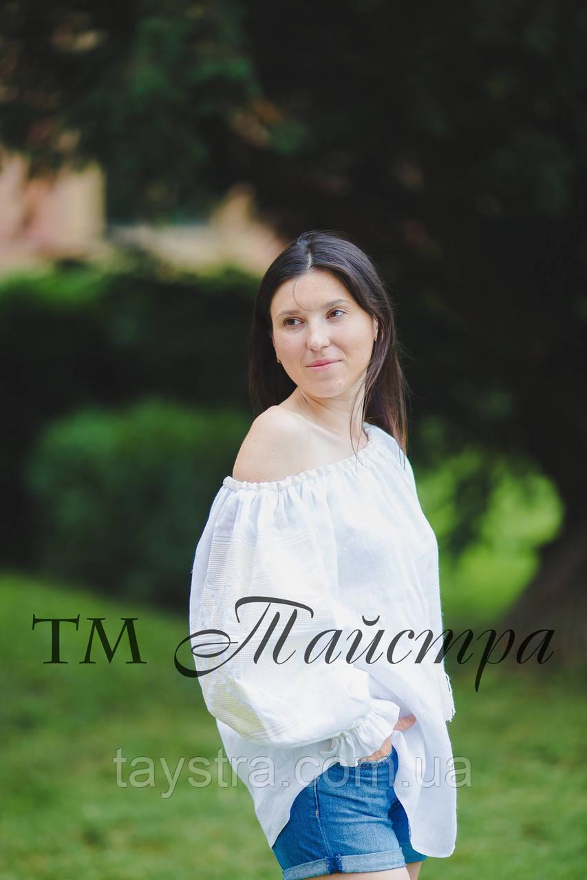 Блузка белая бохо вышитая женская, открытые плечи, этно стиль,Bohemia