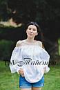Блузка белая бохо вышитая женская, открытые плечи, этно стиль,Bohemia, фото 2