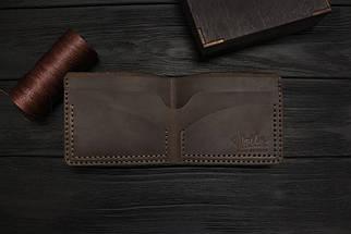 Мужской кожаный бумажник ручной работы VOILE vl-mw2-brn коричневый, фото 3