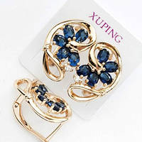 Серьги Xuping позолоченные 1.9см синий цирконий 513