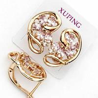 Серьги Xuping позолоченные 1.9см розовый цирконий с514