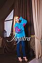 Вышиванка лен бохо блузка бирюзовая вышитая, этно стиль, Bohemian, фото 4