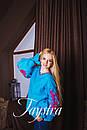 Вышиванка лен бохо блузка бирюзовая вышитая, этно стиль, Bohemian, фото 2