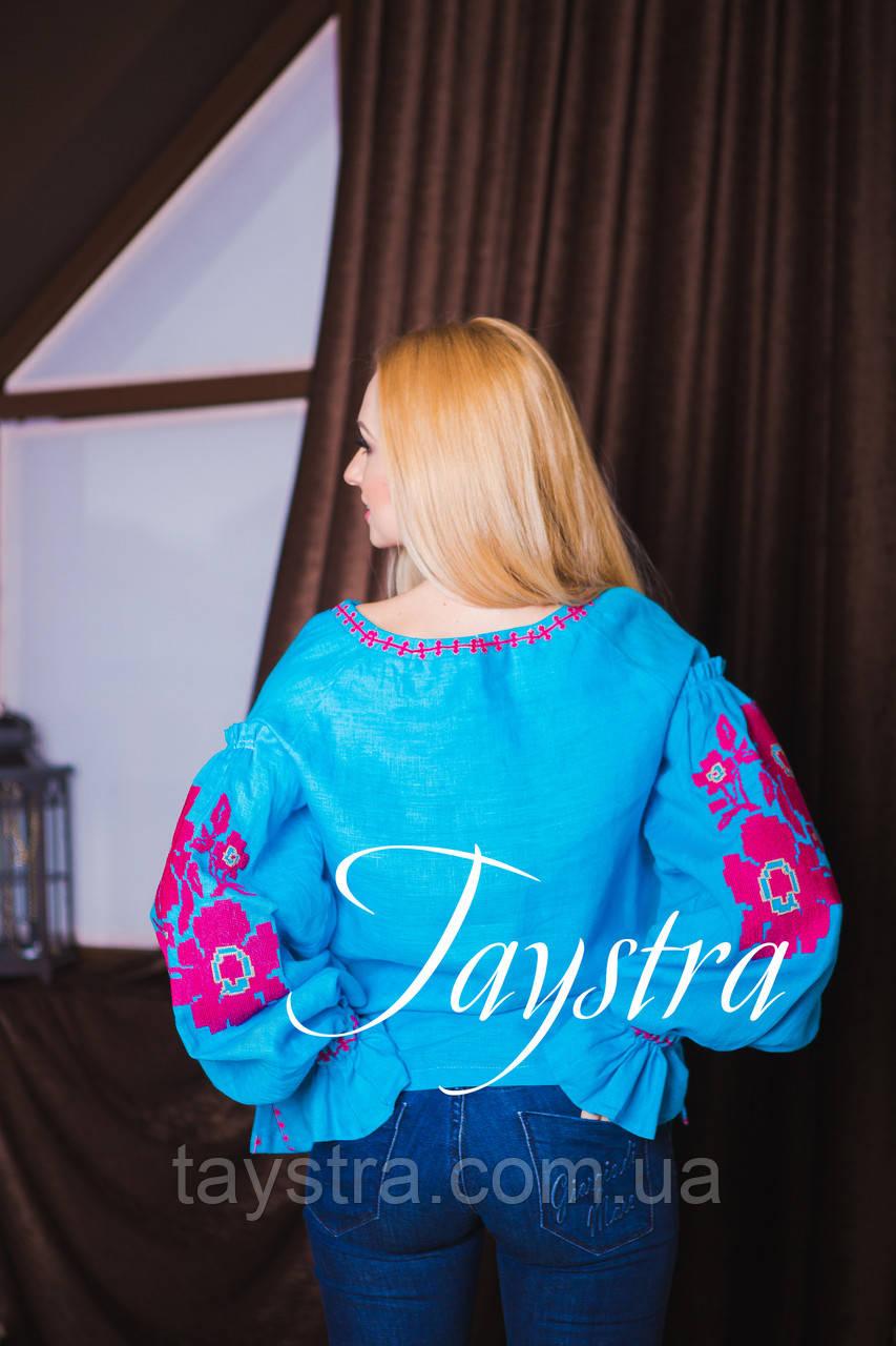 Вышиванка лен бохо блузка бирюзовая вышитая, этно стиль, Bohemian