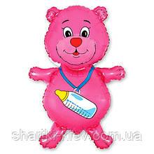 Мишка Розовый на выписку Гелий