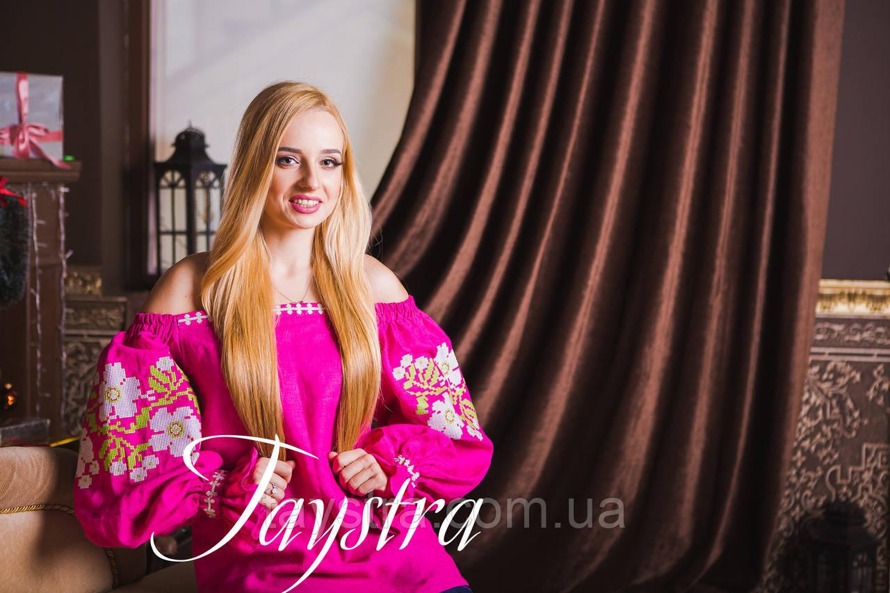 Вышиванка лен бохо блузка розовая вышитая, этно стиль, Bohemian