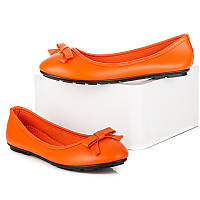 Яркие неоновые женские балетки оранжевые