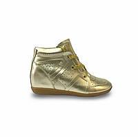 Кеды женские на танкетке Isabel Marant Bobby Sneakers на шнурках золотые кожаные