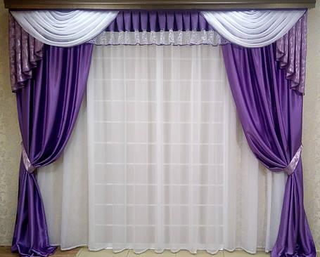 """Набор (ламбрикен+шторы+гардина) """"Элегия Фиолет""""  , фото 2"""