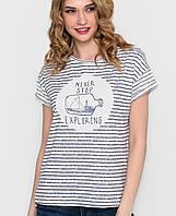 Женская белая футболка в полоску (5049 sk)