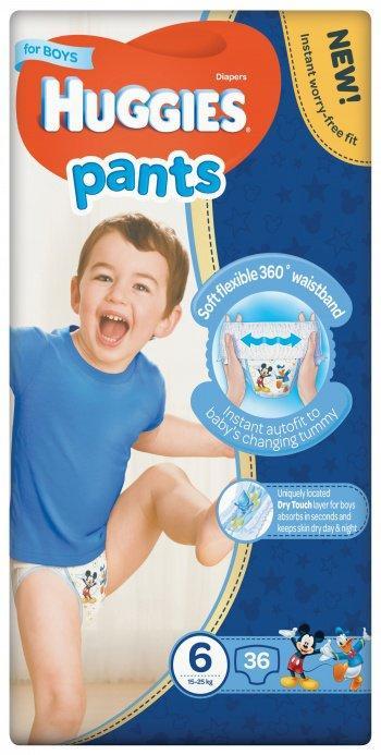Трусики  Huggies Pants для мальчиков 6 (15-25 кг), Mega Pack 36 шт.