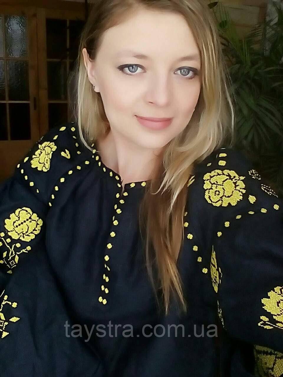 Вышиванка лен бохо блузка вышитая,черный лен, этно стиль, Bohemian