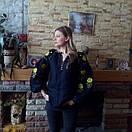 Вышиванка лен бохо блузка вышитая,черный лен, этно стиль, Bohemian, фото 3